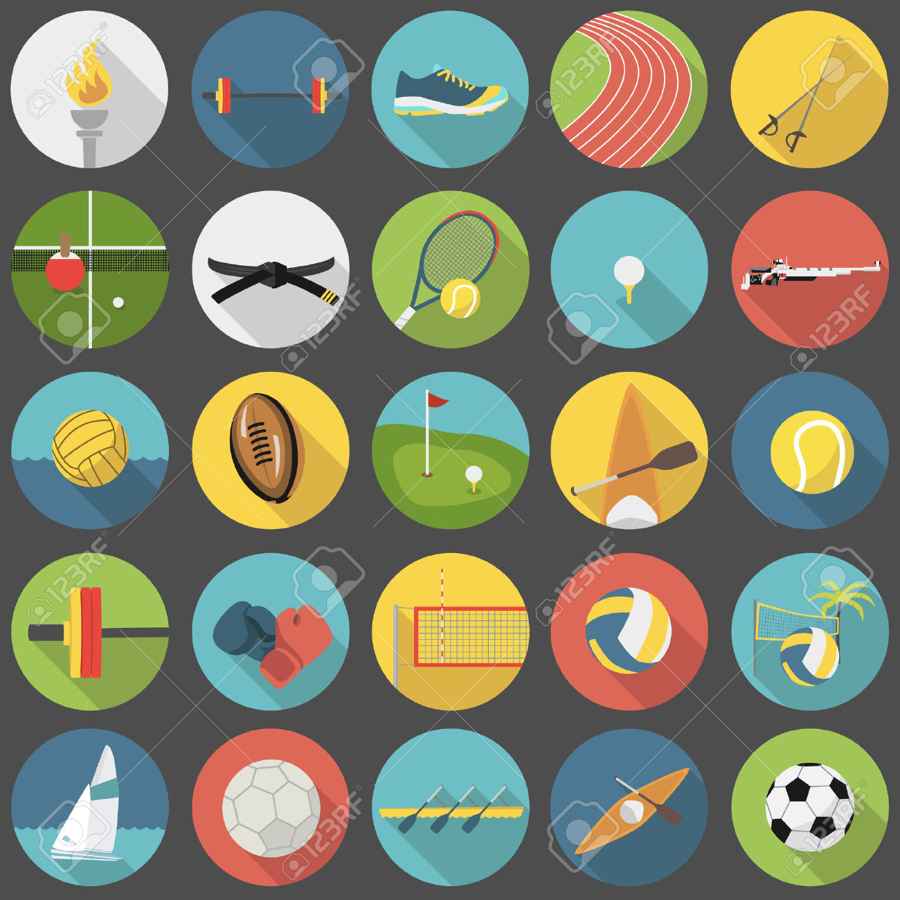 31380192-Collection-of-summer-sports-vector-flat-icons-Stock-Photo